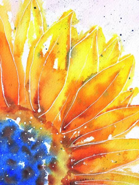 Wall Art - Painting - Sunflower Blue Orange And Yellow by Carlin Blahnik CarlinArtWatercolor