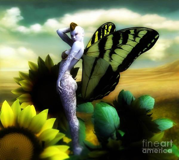 Wall Art - Digital Art - Sunflower Fairy by Sandra Bauser Digital Art