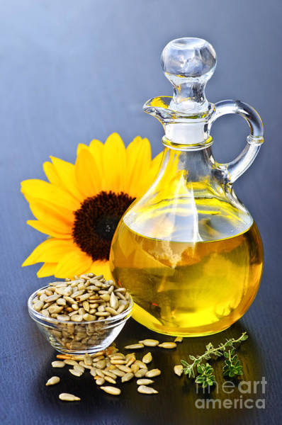 Sunflower Seeds Photograph - Sunflower Oil Bottle by Elena Elisseeva