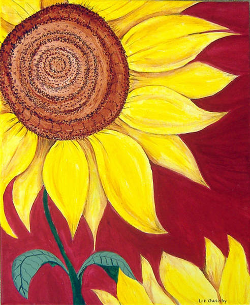 Painting - Sunflower On Red by Lee Owenby