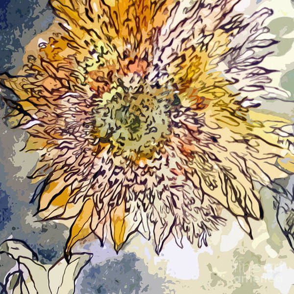 Mixed Media - Sunflower Prickly Face by Ginette Callaway