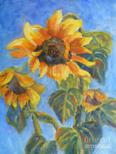Painting - Sunflower Trio by Carolyn Jarvis