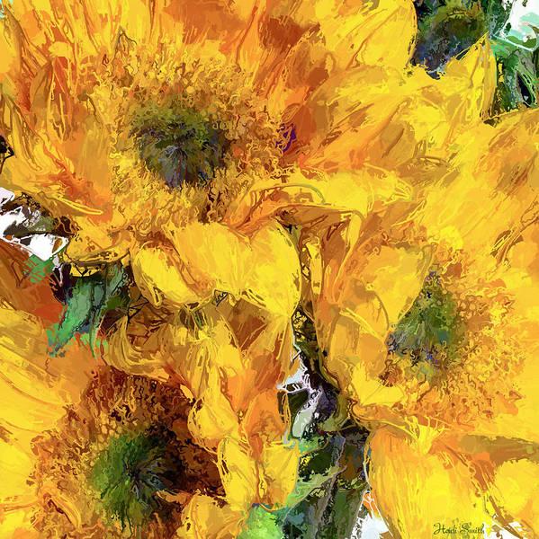 Wall Art - Photograph - Sunflower Trio Painterly by Heidi Smith