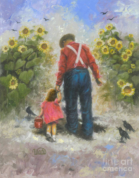Granddaughter Painting - Sunflower Walk With Grandpa Brunette Girl by Vickie Wade