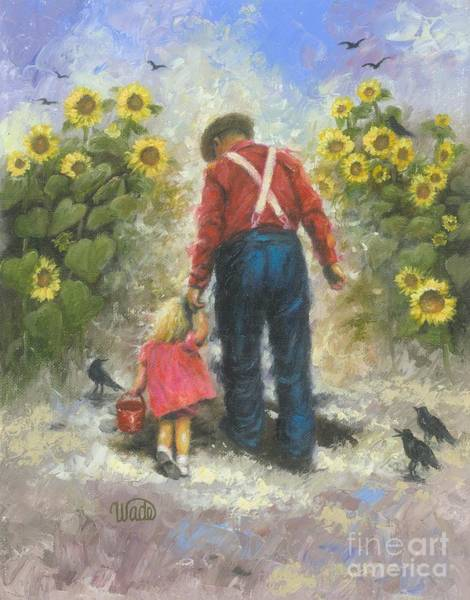 Granddaughter Painting - Sunflower Walk With Grandpa by Vickie Wade