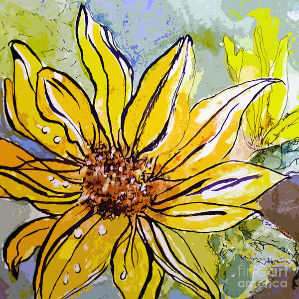 Mixed Media - Sunflower Yellow Ribbon by Ginette Callaway