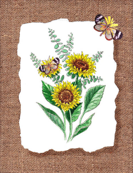 Wall Art - Painting - Sunflowers And Butterflies by Irina Sztukowski