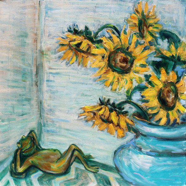 Sunflowers And Frog Art Print