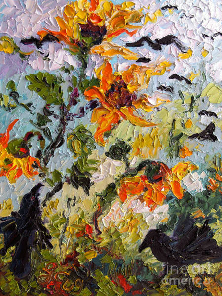 Painting - Sunflowers And Ravens by Ginette Callaway