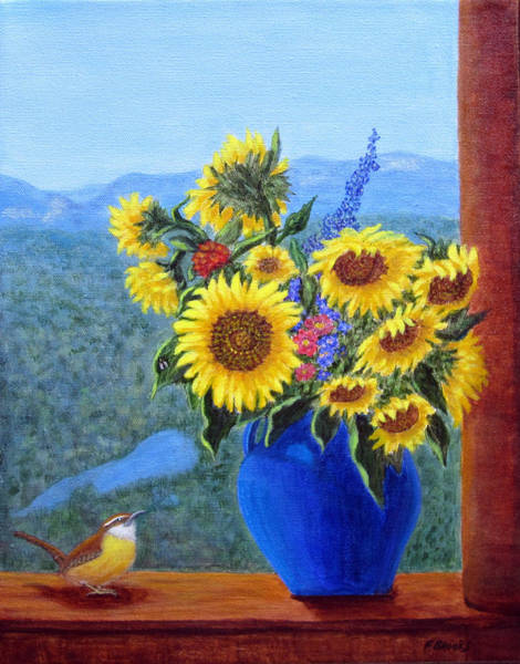 Painting - Sunflowers And Wren by Fran Brooks