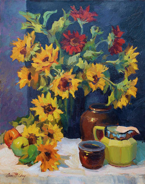 Pitcher Painting - Sunflowers And Yellow Pitcher by Diane McClary