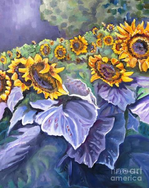 Holly Brannan Wall Art - Painting - Sunflowers At Twilight by Holly Bartlett Brannan