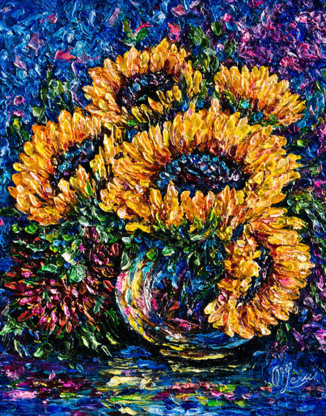 Painting - Sunflowers Bouquet In Vase by OLena Art - Lena Owens