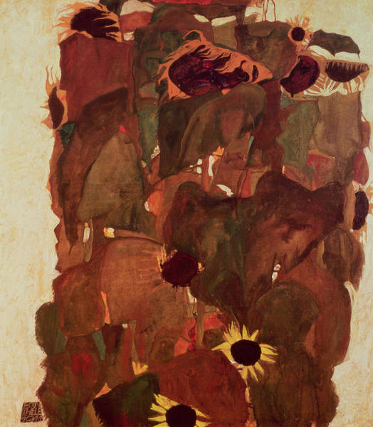Expressionist Photograph - Sunflowers II, 1911 by Egon Schiele