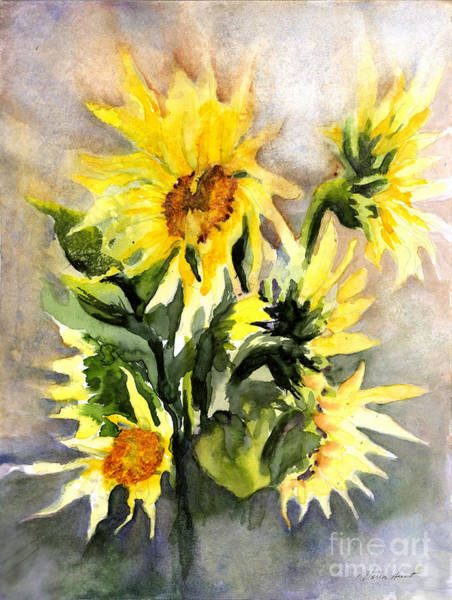 Wall Art - Painting - Sunflowers In Abstract by Maria Hunt