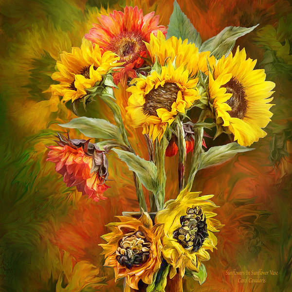 Mixed Media - Sunflowers In Sunflower Vase - Square by Carol Cavalaris