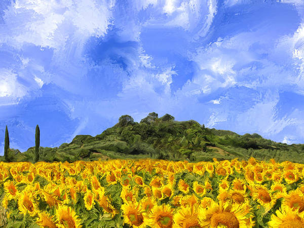 Painting - Sunflowers In Tuscany by Dominic Piperata