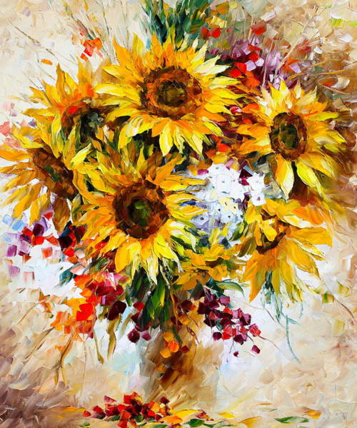 Wall Art - Painting - Sunflowers Of Happiness New by Leonid Afremov