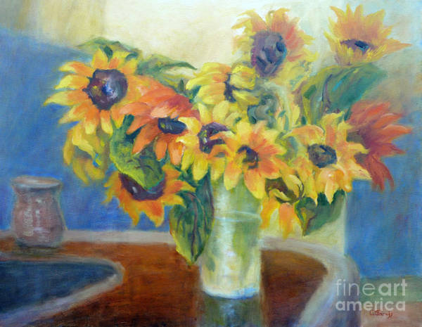 Painting - Sunflowers On A Bar by Carolyn Jarvis