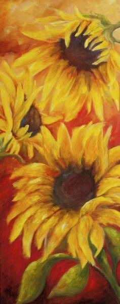Energy Painting - Sunflowers On Red by Chris Brandley