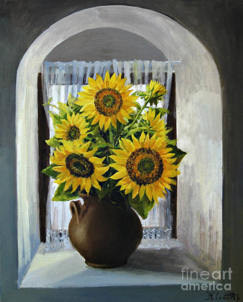 Wall Art - Painting - Sunflowers On The Window by Kiril Stanchev