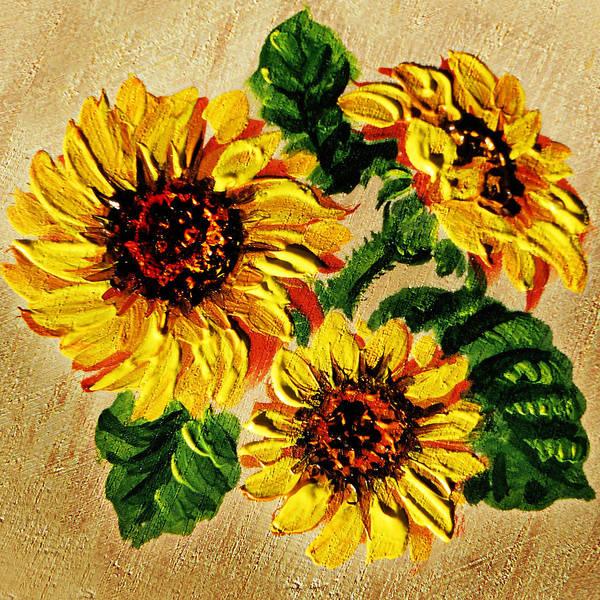 Painting - Sunflowers On Wooden Board by Irina Sztukowski