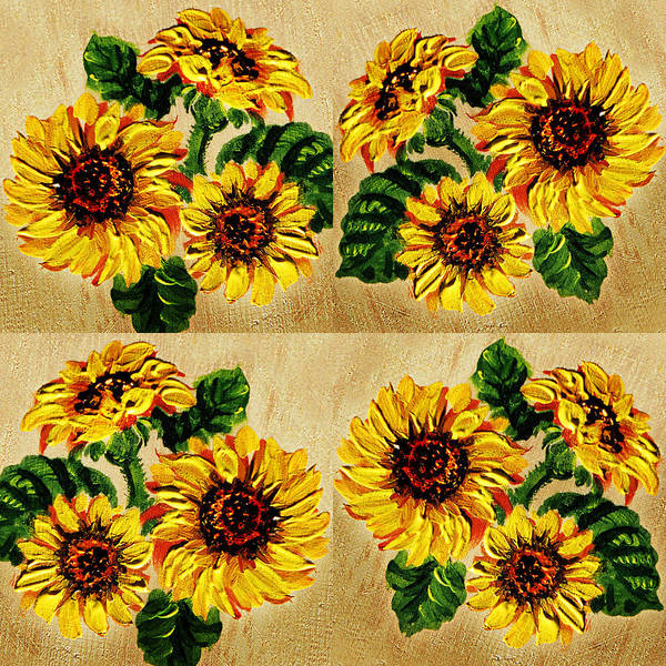 Country Style Painting - Sunflowers Pattern Country Field On Wooden Board by Irina Sztukowski