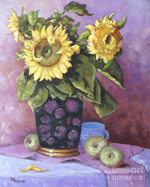 Floral Shower Curtain Painting - Sunflowers Study By Prankearts by Richard T Pranke