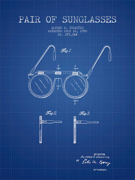 Wall Art - Digital Art - Sunglasses Patent From 1950 - Blueprint by Aged Pixel