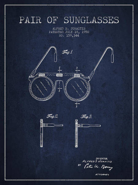 Wall Art - Digital Art - Sunglasses Patent From 1950 - Navy Blue by Aged Pixel