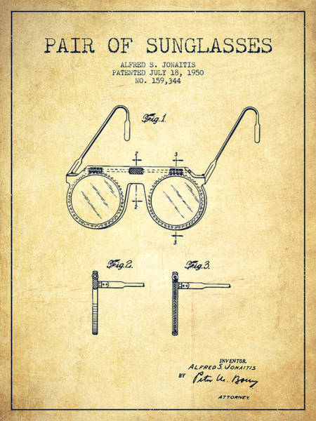 Wall Art - Digital Art - Sunglasses Patent From 1950 - Vintage by Aged Pixel