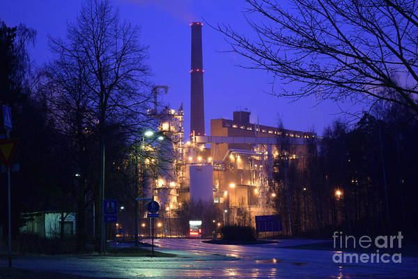 Sunila Pulp Mill By Rainy Night Art Print