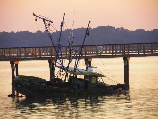 Photograph - Sunken Boat by Lisa Wooten