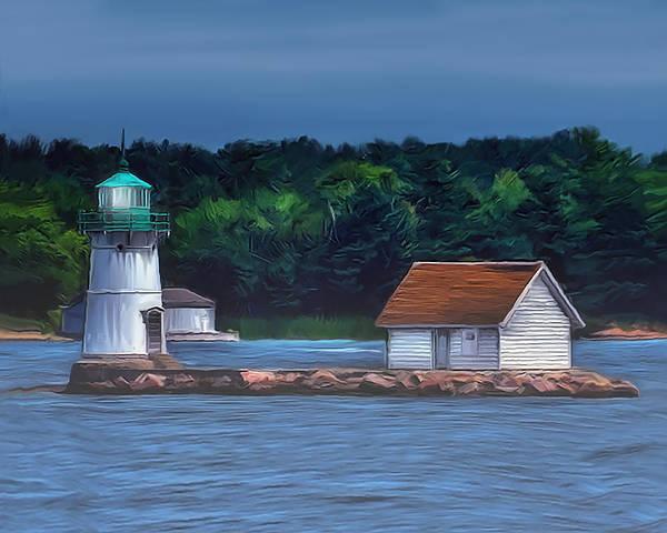 Wall Art - Mixed Media - Sunken Rock Lighthouse by Dave Sandt
