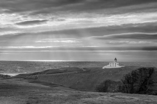 Photograph - Sunlight At Stoer Lighthouse Bw Version by Gary Eason