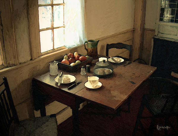 Painting - Sunlight On Dining Table by RC DeWinter