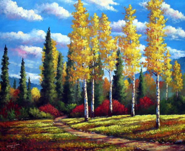Wall Art - Painting - Sunlit Aspens by David G Paul