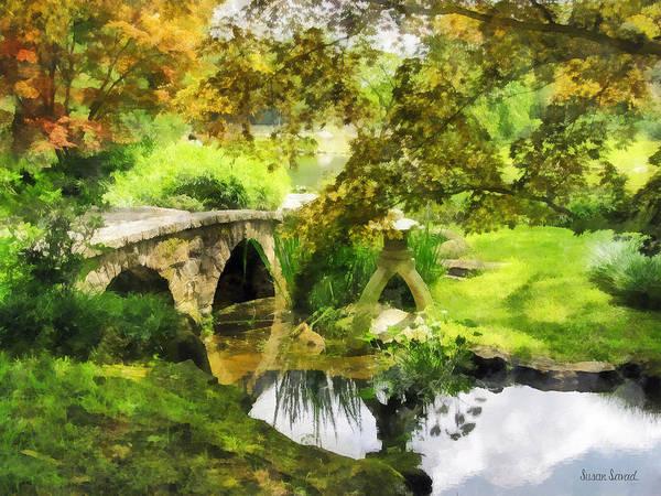 Photograph - Sunlit Bridge In Park by Susan Savad