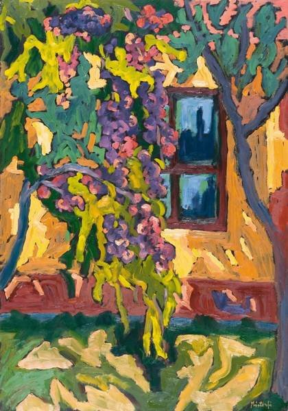 Exterior Painting - Sunlit Wall With Fruit Tree by Marta Martonfi Benke