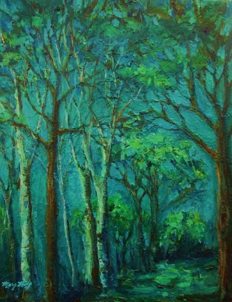 Painting - Sunlit Woodland Path by Mary Wolf