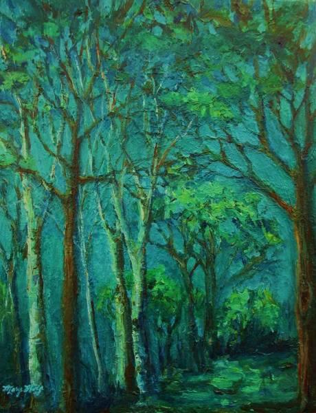 Sunlit Woodland Path Art Print