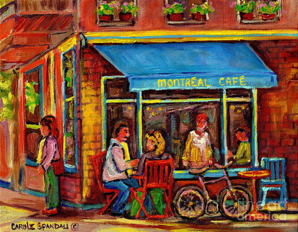 Painting - Sunny Day At Montreal Cafe Rue Laurier- Paris Style Bistro Paintings- Carole Spandau by Carole Spandau