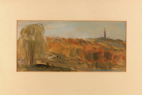 Wall Art - Painting - Sunny Landscape With Trees And Monument On A Hill by Litz Collection