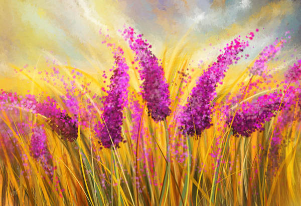 Painting - Sunny Lavender Field - Impressionist by Lourry Legarde