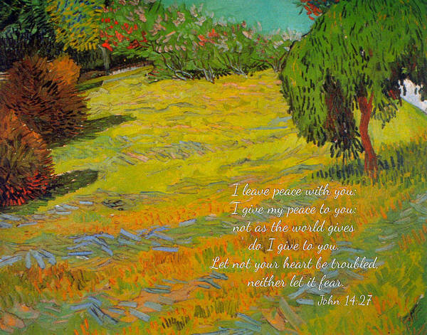 Digital Art - Sunny Lawn By Van Gogh With Scripture by Denise Beverly