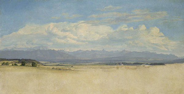 Mountain Range Painting - Sunny Mountainous Panorama, 1829 Wc On Paper by Jacob Gensler