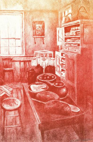 Drawing - Sunny Old Fashioned Kitchen by Kendall Kessler