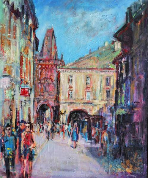 Abstract People Painting - Sunny Side  Prague by Sylvia Paul