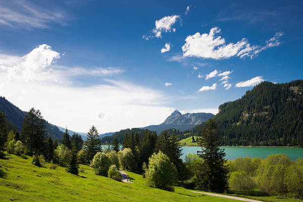 Photograph - Sunny Spring Day At The Lake Blue Sky And Green Meadow by Matthias Hauser