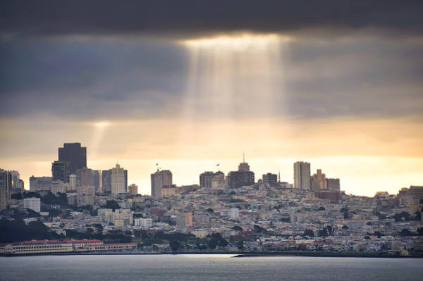 Photograph - Sunrays On The San Francisco Skyline - California by Gregory Ballos